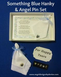 Something Blue Hanky & Angel Pin Set makes a great keepsake gift.  She can carry the hanky and wear the guardian angel pin on her dress somewhere or pin it on her bouquet.  It comes in a white gift box with  a touching poem card, your choice of an embroidered or lace handkerchief, and your choice of five handcrafted angel pins.   Check out the other gift sets I have on my web site.  https://www.angeldesignsbydenise.com/category.php?ct=511&id=261#subcat511