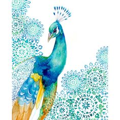 PRINT / Peacock Garden / turquoise and blue colors ($28) ❤ liked on Polyvore