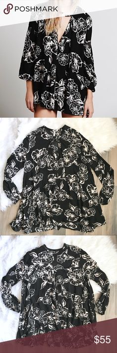 Free People • Floral Foil Swing Tunic Dress Black Free People Floral Foil Swing Tunic Dress Black White  • NWOT  • Size Medium Free People Dresses