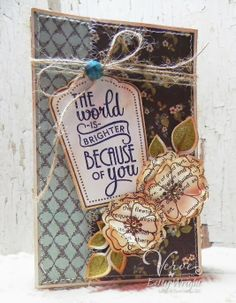Card by Betty Wright using Joyful Blooms, Let it Be and Sweet Scallop Tag from Verve.  #vervestamps