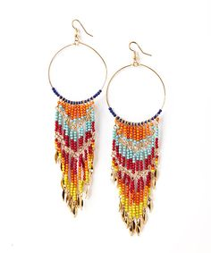 Take a look at the Gold & Vibrant Chevron Beaded Waterfall Drop Earrings on #zulily today!