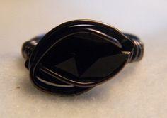 Swarovski Jet Black Crystal Ring by jewelrysldesigns on Etsy, $25.95
