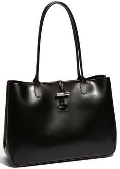 f1e38d97787 beautiful Longchamp handbag. I want it!! Furla Purses, Black Leather Tote,