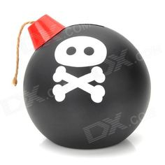 Model: NO; Quantity: 1 piece(s) per pack; Color: Black + White + Red; Material: PS + PP; Specification: When throw in coin, it will emits the sound of igniting the blasting fuse and shake, powered by 3 x AA batteries (not included); Packing List: 1 x Coin bank; http://j.mp/1v2USw5