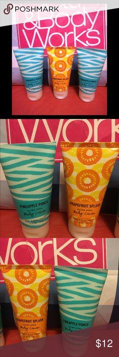 Bath & Body Works 2 Pineapple Punch, 1 Grapefruit Splash Body Cream travel size new great stocking stuffers Bath & Body Works Other
