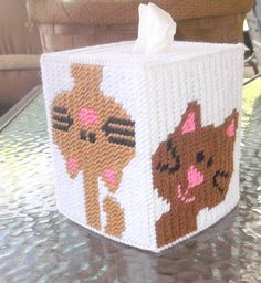 Peeking Kitty Tissue Box  Cover by TissueMart on Etsy