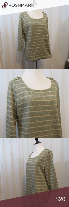 """Chico's Green Gold Striped Floral 3/4 Sleeve Top 1 Brand: Chico's Size: 1 Material:  52% Cotton 46% Polyester 2% Other Fiber Lining: 100% Polyester  Care Instructions: Machine Wash Bust: 38"""" Sleeves: 17"""" Length: 23""""  All clothes have been inspected and are in excellent used condition unless otherwise noted. P91 Chico's Tops Blouses"""