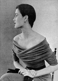 Maxime de la Falaise in grey draped jersey dress by Balenciaga, 1950.