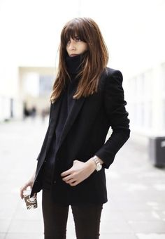 #street style #hair ... heavy bangs on medium long brunette hair