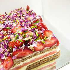 Heaven for your mouth. Courtesy of the culinary genius at Black Star Pastry in AU.  Watermelon cake: watermelon between two layers of almond dacquoise and rose scented cream, topped with strawberries, pistachios and dried rose petals