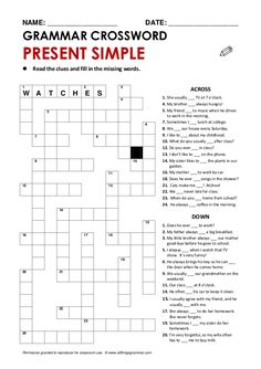 NAME: ________________________ DATE: ________________________   GRAMMAR CROSSWORD   PRESENT SIMPLE    Read the clues and fil...