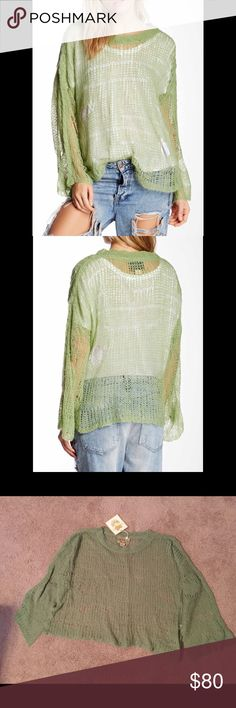 🎉CCO🎉 Wildfox Sweater Crew knit, long sleeves with drop shoulder seams, open knit construction with distressing, boxy fit. Made in USA. 56% acrylic, 34% nylon, 10% wool. Dry clean. Color is Grass Stain. Wildfox Sweaters Crew & Scoop Necks