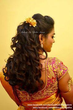 Indian bride's reception hairstyle by Vejetha for Swank Studio. Curls. Saree Blouse Design. Hair Accessories. Tamil bride. Telugu bride. Kannada bride. Hindu bride. Malayalee bride. Find us at https://www.facebook.com/SwankStudioBangalore
