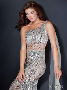 Mermaid Floor-length One-shoulder Dress Silver/Nude Jovani Prom 1001 Sequins Beads