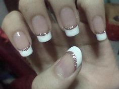 French nails with glitter
