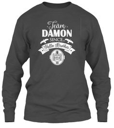 Team Damon Since Hello Brother T Shirt Charcoal T-Shirt Tay Dài Front