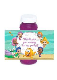 Bubble Guppies Printable Birthday Party Bubble Bottle Label.