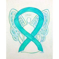 Turquoise Blue Awareness Ribbon Angel Art Painting means support for Blue Awareness Ribbon Art means support for Recovery, Native American Congenital Diaphragmatic Hernia ( and Interstitial Cystitis ( Polycystic Kidney Disease, Polycystic Ovarian Syndrome, Ovarian Cancer Awareness, Cervical Cancer, Teal Ribbon, Ribbon Art, Custom Buttons, Awareness Ribbons, Teal Green