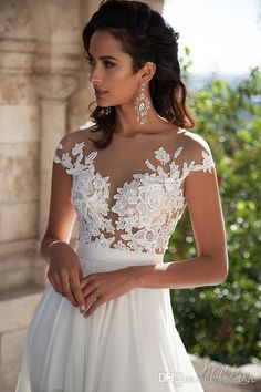 2016 Sheer Lace Beach Wedding Dresses Cap Sleeve Illusion Scoop Neckline Bridal Gowns Chapel Train Chiffon Wedding Gowns Thigh-High Slits Online with $155.76/Piece on Yaostore's Store | DHgate.com                                                                                                                                                                                 More