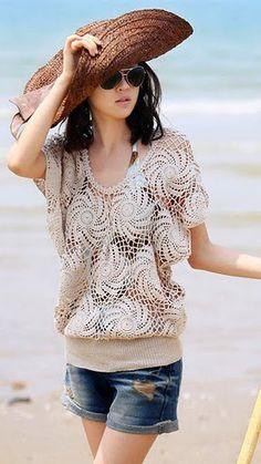Crochetemoda: Crochet - Blusa Bege - free pattern