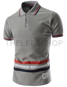 (MZST24-GRAY) Mens Slim Fit Jersey Polo Shirts Line Point Short Sleeve Collar Tshirts