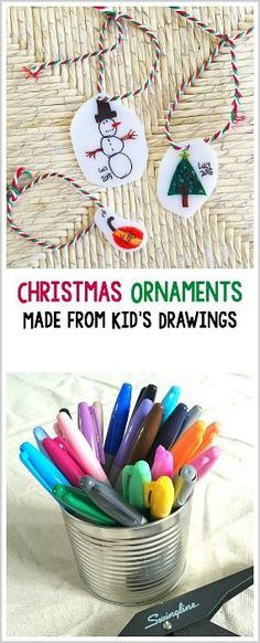 Easy DIY Christmas Ornaments for Kids to Make: Use shrink film to make homemade Christmas ornaments using kids' drawings! Such a wonderful keepsake and so simple for children of all ages! ~ BuggyandBuddy.com