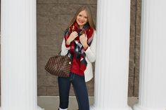 Sweets and Style Just Right: Zara blanket scarf and Louis Vuitton speedy 25