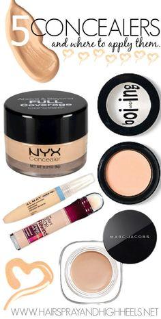 5 Of The Best Concealers & Where To Apply Them via #hairsprayandhighheels  #face #makeup #beauty - bellashoot.com