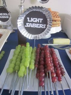 The Best Fruit & Veggie Trays for Kids' Birthday Parties: Star Wars Fruit Light Sabers