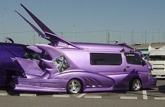 Tagged with funny, japan, cars, vans, science and tech; Japanese tricked out vans Purple Love, All Things Purple, Shades Of Purple, Purple Cars, Purple Stuff, Strange Cars, Weird Cars, Cool Cars, Mini Vans