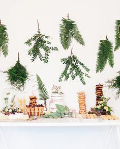 Hanging Fern Table Decorations | Party Decorations | Modern Woodland Party Ideas