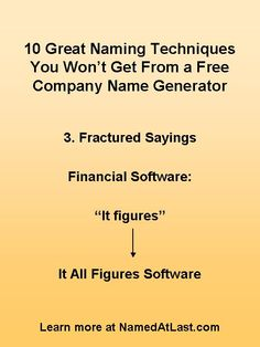 11 Best 10 Creative Company Naming Techniques Images Name