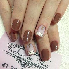 Tan Nails, Cute Pink Nails, Pretty Nails, Pretty Nail Designs, Gel Nail Designs, Nail Jewels, Stylish Nails, Fabulous Nails, Flower Nails