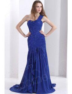 Sheath Column One Shoulder Blue Evening Dress