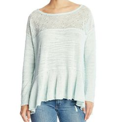 """Free People Babydoll Sweater Color: Mint Boat neck Long flounce sleeves Unlined Approx. 25-27"""" length 57% cotton, 23% rayon, 20% nylon Hand wash cold Free People Sweaters"""