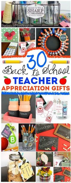 30 Useful Kid-Made Teacher Appreciation Gifts Show your favorite educator just how special they are! 30 of the cutest, cleverest, and most useful DIY teacher appreciation gifts - EASY and frugal! Preschool Teacher Gifts, Teacher Treats, Your Teacher, Best Teacher, Teacher Presents, Teacher Stuff, Staff Gifts, Grad Gifts, Student Gifts