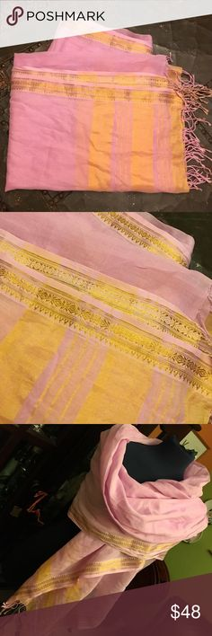 Pink and Gold Saree Indian cotton and silk wrap Accessories Scarves & Wraps