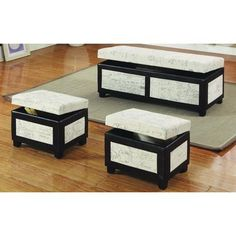 Found it at Wayfair - Monark 3 Piece Bedroom Bench Set Small Bench, Bench Set, Upholstered Bench, Extra Seating, Online Furniture, Home Organization, Home Furnishings, Ottoman, Upholstery