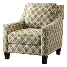 $229  Upholstered Accent Chair in Grey and Yellow 34x30x37  | Nebraska Furniture Mart