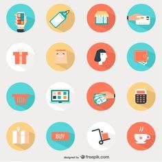 Shopping-round-icons-set