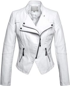 Looking for chouyatou chouyatou Women's Fashion Tailored Zip-Up Faux Leather Quilted Racer Jacket ? Check out our picks for the chouyatou chouyatou Women's Fashion Tailored Zip-Up Faux Leather Quilted Racer Jacket from the popular stores - all in one. Lambskin Leather Jacket, Biker Leather, White Leather Jackets, Leather Coats, Tan Leather, Coats For Women, Jackets For Women, Clothes For Women, Vegan Fashion