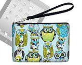 Cute Owl iPad Mini Case with Wrist Strap  Womens Clutch Purse Cases for  iPad Mini Cover   Blue Green
