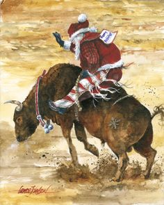 bull riding Santa