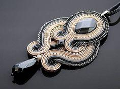 Gray graphite ecru Soutache necklace with Hematite.