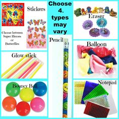 Choose any 4 items (colours and types may vary slightly please ask if you need to know at the time as depends on stock)