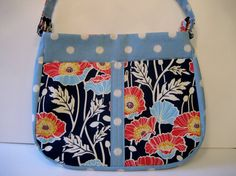 Red and Navy Blue Floral Saddle Bag by Nataty on Etsy, $35.00