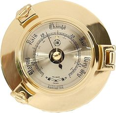 Bey-Berk Lacquered Brass Porthole Barometer with Beveled Glass, Grey Weather Instruments, Brass, Link, Image, Copper, Rice
