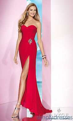 Floor Length Strapless Alyce Dress at SimplyDresses.com,$198 sexy red dress