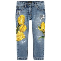 Slim fit stone jeans with tulip patches