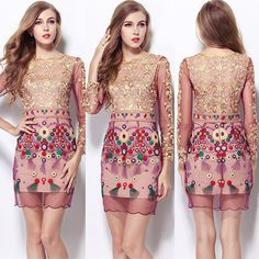 Your elegant temperament and charming style will shine in this dress. It features long sleeve and round neck design. Exquisite embroidery craft makes this dress more attractive and glamorous. Take it to your home!